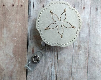 Sand Dollar Badge Clip, Retractable ID Holder, Ivory Embroidered Vinyl, Beach Badge Reel, Choice of Clip Styles, Seashell Clip, Made in USA