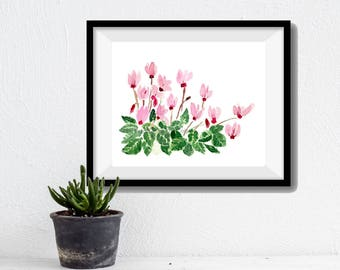 Cyclamen plant art Print, Cyclamen watercolor print, Still Life, cyclamen print, watercolor painting, mother's day, pink, green, plants art