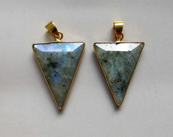 Labradorite Pendant with Electroplated Gold Edge - B1545
