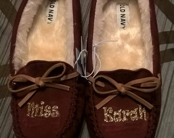 Personalized Kid Moccasin Slippers-size 5 only *FREE SHIPPING