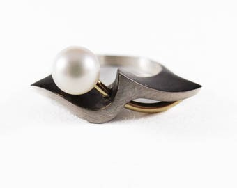 Blackened Sterling Silver 18k Yellow Gold 7.5mm Pearl Ring
