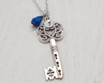 big key necklace, silver key necklace, personalized key charm, anniversary gift, bridesmaid, skeleton key, graduation gift, boho, layering