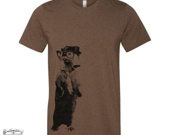 Men's River OTTER t shirt  s m l xl xxl (+ Color Options) Hand Screen Printed custom