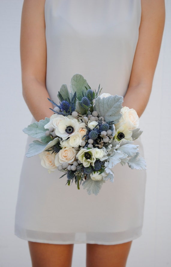 Navy blue wedding flower package dusty blue wedding anemone junglespirit