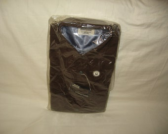 vintage 1970s woolshire brown wool longsleeve shirt size medium deadstock nwt