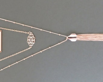 Rose Gold Necklace, Rose Gold Layered Necklace, rose gold tassel necklace, long rose gold necklace, tassel necklace, marciahdesigns, mhd