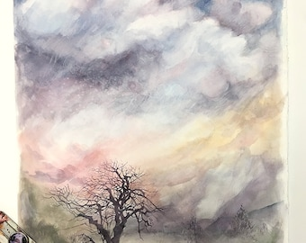 Watercolor Sunset Painting- Large Watercolor- Watercolor Sky- Bare Tree- 18x22- Purple,Pink, Gold, Blue- Boulder Colorado