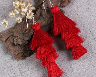 Four Layered Red Tassel Earrings With Sterling Silver Ear Wires Dangle Earrings Long Statement Earrings