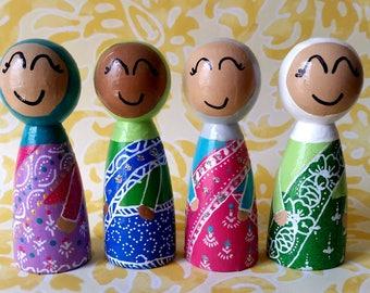 Sari Indian Muslim Dolls Set of Four/Indian Saari/Muslim Doll/Indian Muslim/Indian/Pakistan/Bangladesh/Saari/Cake Topper/Sari