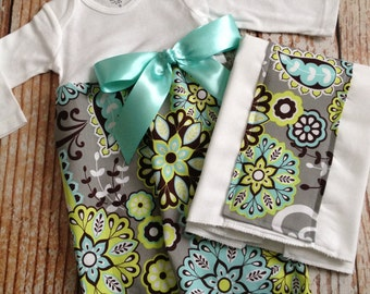 Baby Girl Gift Set - 2 Piece - Layette Gown with Burp Cloth