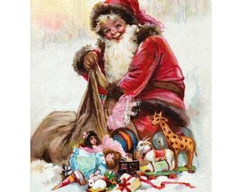 Santa Claus Card - Saint Nicholas with Bag of Toys - Brundage Vintage Image