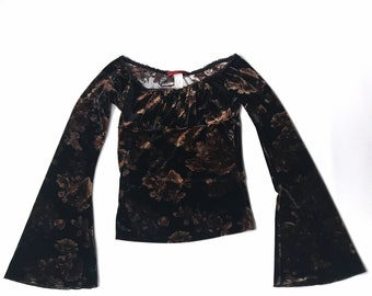 Vintage Necessary Objects Floral Bell Sleeve Top 90s Size Small