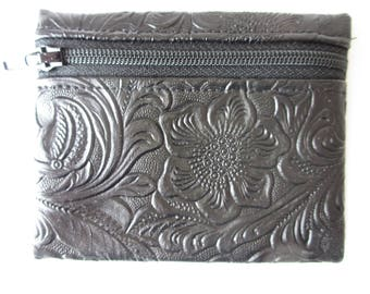 Handmade  Rosary Zip Pouch Black Faux Leather