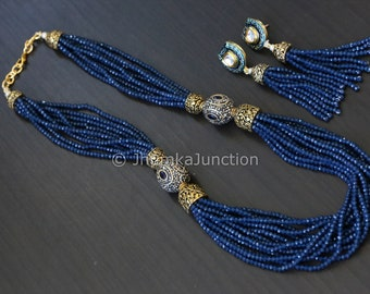 Victorian beaded necklace, Kundan necklace, Indian wedding, Bollywood Necklace, Kundan Jewelry, Indian Bridal necklace, Blue indian necklace
