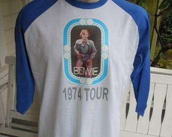 Size XL (48) ** Old Stock Dated 1974 David Bowie Shirt (Deadstock Unworn) (Single Sided) (Screen Stars)