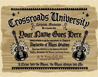 "Unique / PERSONALIZED crossroads blues university diploma - big 12'x18"" print - Your name"