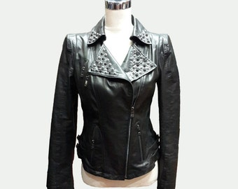 Custom made Leather Jacket - Biker Jacket - Black Jacket - Short Jacket - Women Jacket - Women Leather Jacket