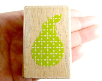 Pear (retro pattern) - Rubber Stamp - Etsy Shop, Logo, Branding, Packaging, Invitations, Party, Favors, Wedding Gifts