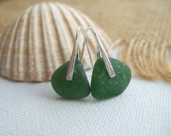 WATERDROPS...Scottish sea glass sterling silver elegant earrings with green sea glass, sterling silver and scottish sea glass drop earrings