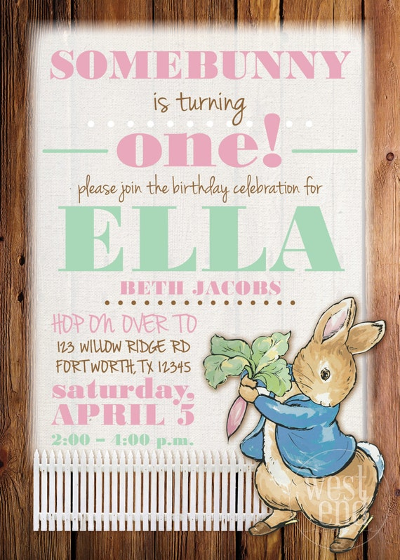 Peter Rabbit Invitation Peter Rabbit Birthday Invitation