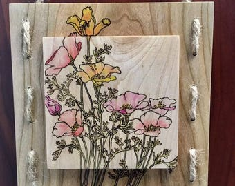 Woodburned Floral Arrangement -  Art Panel-Pyrography - FREE SHIPPING