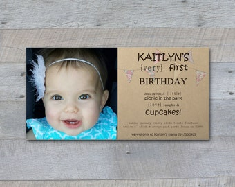 Birthday Invitation - Printable - Vintage Picnic - Photo - cupcake, bunting, flags, banner, handwritten, type, typography, kraft paper