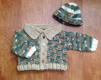 Camo sweater and hat set with kitty/puppy button accent