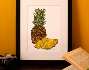 Art Print | Textile Art | Pineapple | Free Motion Embroidery