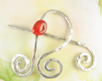 Silver Shawl Pin/Brooch Hand Formed Abstract with Bamboo Coral