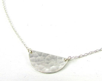 Silver Half Moon Necklace | Hammered Half Circle Necklace | Sterling Silver Festoon Pendant | Handcrafted .925 Jewelry by Eriadesigns
