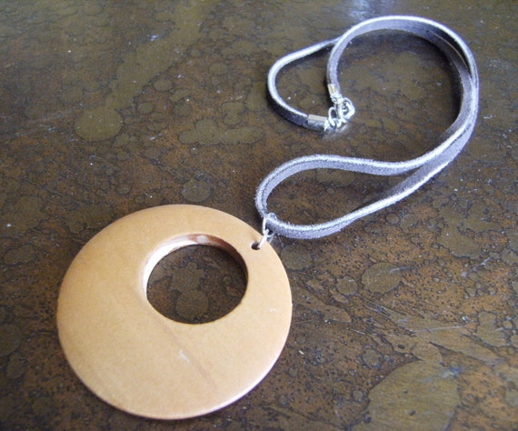 All Natural Wood and Suede necklace