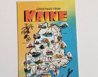 Maine Map POSTCARD / Vintage Greetings from Maine Postcard Unused, Unposted