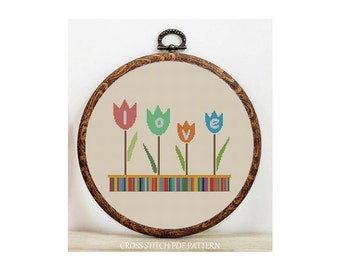 Tulip Love-Cross Stitch Pattern-Modern Sampler-Pdf-Instant Download