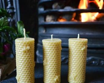 Tall Honeycomb Roll - Beeswax Candle