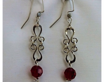 Siam Swarovski Crystal Beads and Sterling Silver Formed and Hammered Wire Earrings - #11088
