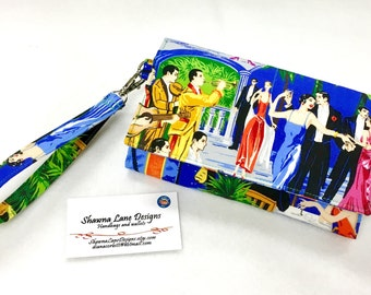 phone wallet, wristlet, novelty fabric, dancing with the stars,  Women's Wallet with strap, mobile phone accessory, shawna lane designs