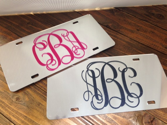 Monogram License Plate - Mirrored Chrome - Ultra Glitter - mirror car tag