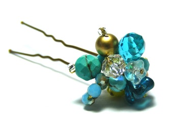Turquoise & Gold Cluster Hair Pin, Turquoise Hair Pin, Turquoise Hair Jewelry, Unique Hair Pin, Turquoise Wedding Hair Accessories
