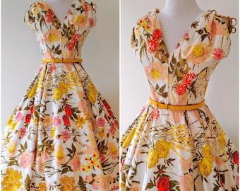 Vintage 1950's Floral Fit and Flare Dress   1950's Sundress   1950's Floral Circle Skirt Dress  