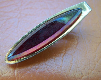 Vintage 60's Alligator Clip Silver Toned Opalescent stone Tie Clip / Clasp