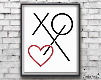 XOXO Print, Heart Print, Typography Print, Wall Art, Printable Art, Typography, Love Print, Modern Decor, Instant Download, Office Decor