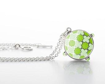 Enamel jewelry, Silver Necklace, Enamel Necklace, Enamel Charm Necklace