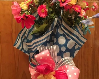 Polka Dot Blue Umbrella with Flowers