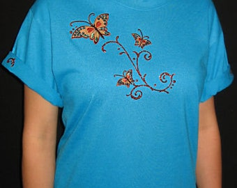 Embroidered Butterfly Butterflies Unique Custom Women's Cute Fun Glitter Cool Bling Bug V-neck T shirt Cindy's Handmade Shirts Boutique
