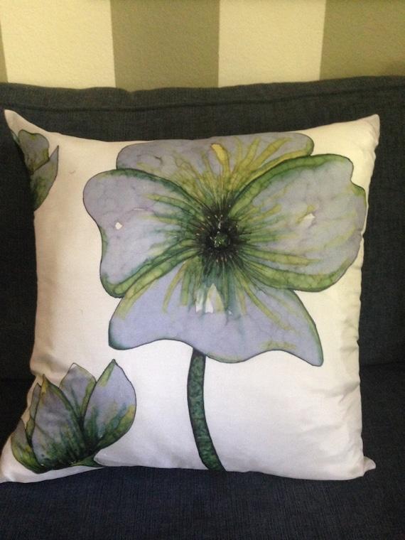 SERENE BLUES - Hand Painted Decorstive Silk Pillow