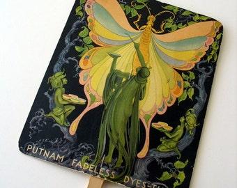 Vintage 40s Paper Fan, Colorful Illustration of Art Nouveau Style Nymph Painting a Gorgeous Butterfly . Fairie