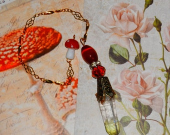 Red ROSE Fairy CRYSTAL Divination PENDULUM with Toadstool