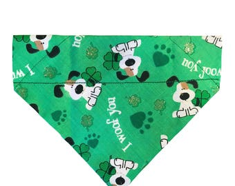 I Woof You St. Patrick's Day Over-the-Collar Dog Bandana