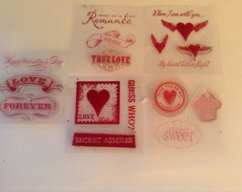 Set of 17 Used Love/Valentine's clear rubber stamps
