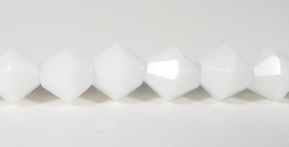 "Bicone Crystal Beads 6mm Opaque Porcelain White Faceted Chinese Crystal Glass Beads for Jewelry Making on an 11 3/4"" Strand with 50 Beads"